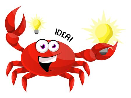 Crab having a idea, illustration, vector on white background.