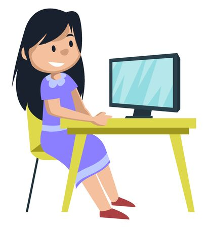 Girl watching on monitor, illustration, vector on white background.