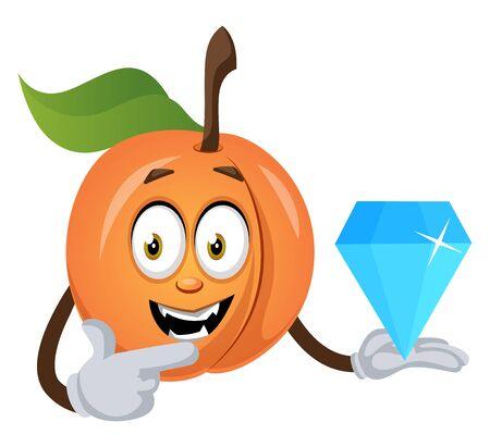 Apricot holding big diamond, illustration, vector on white background. Ilustração