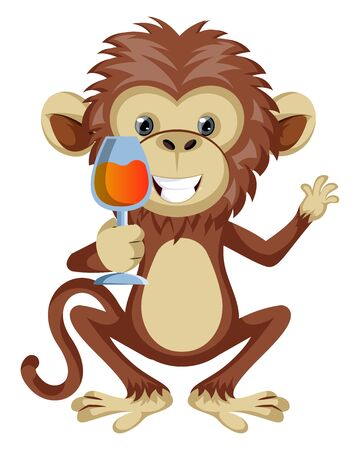 Monkey with glass of wine, illustration, vector on white background.