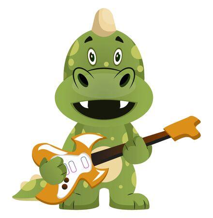 Green dragon is playing guitar, illustration, vector on white background. Ilustração