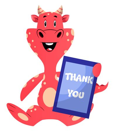 Red dragon is holding thank you sign, illustration, vector on white background.