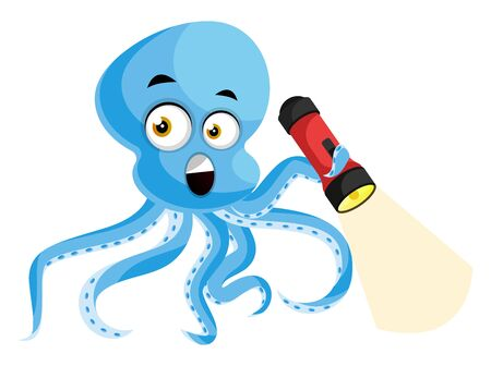 Octopus with flashlight, illustration, vector on white background.