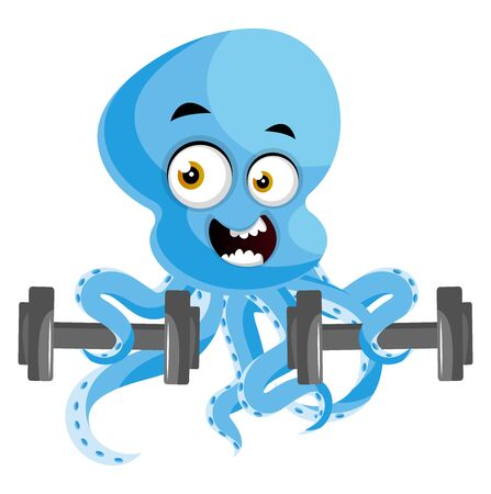 Octopus with weights, illustration, vector on white background. Illustration