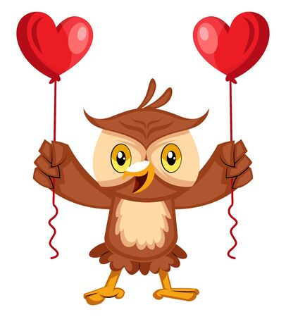 Owl with heart balloons, illustration, vector on white background. Иллюстрация