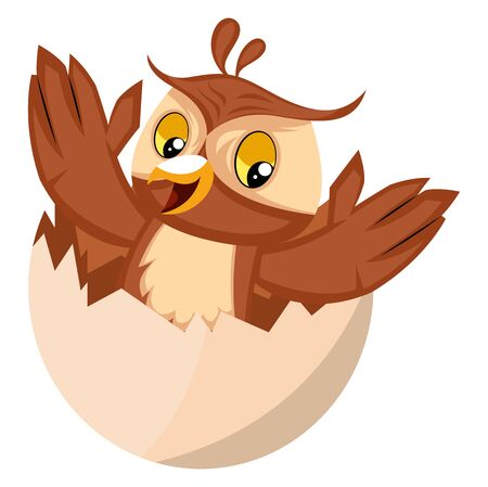 Owl in egg shell, illustration, vector on white background. Archivio Fotografico - 132797668