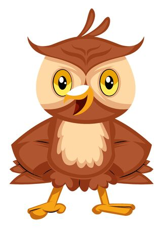 Happy owl smiling, illustration, vector on white background. Çizim