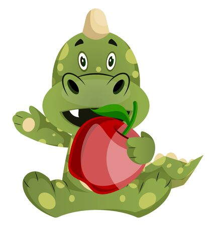 Green dragon is holding an apple, illustration, vector on white background. Illustration