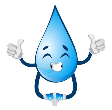 Happy water drop, illustration, vector on white background.