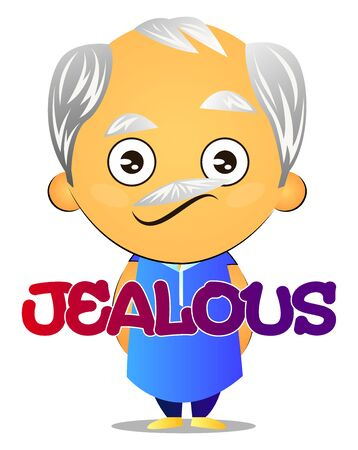 Old man is jealous, illustration, vector on white background.