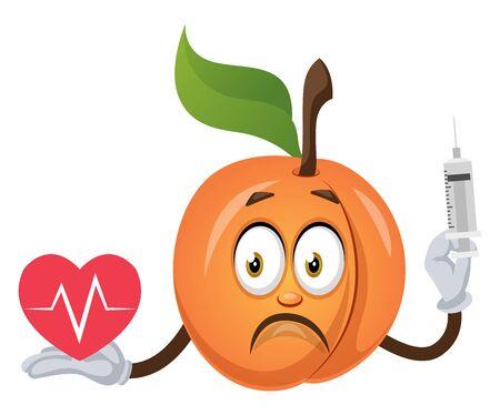 Apricot with broken heart, illustration, vector on white background. Ilustração