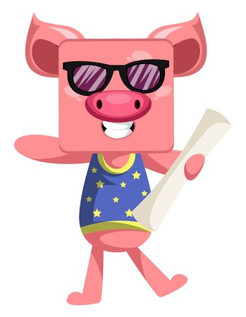 Pig with plans, illustration, vector on white background.