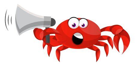 Crab holding megaphone, illustration, vector on white background. Illustration
