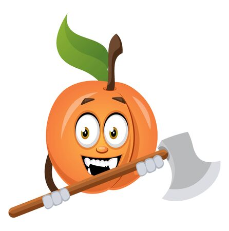 Apricot with axe, illustration, vector on white background.
