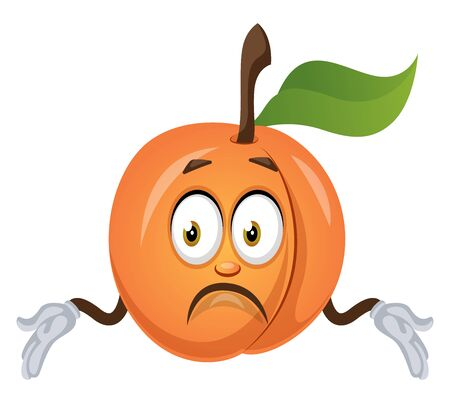Confused apricot, illustration, vector on white background.