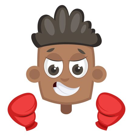Boy with boxing gloves, illustration, vector on white background.