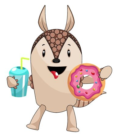 Armadillo with donut, illustration, vector on white background. 向量圖像