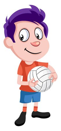Boy with volleyball, illustration, vector on white background. 向量圖像