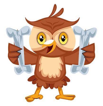 Owl holding bones, illustration, vector on white background.