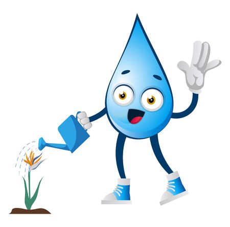 Water drop watering plant, illustration, vector on white background. Banque d'images - 132870208