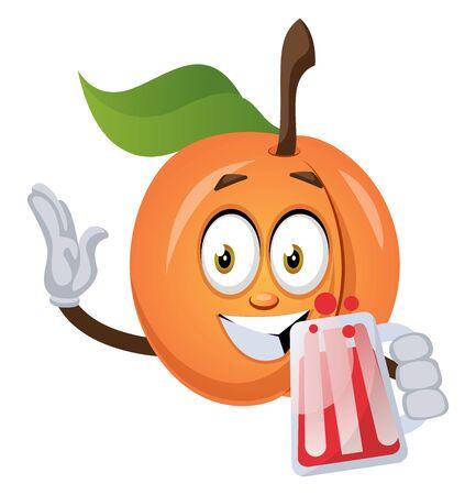 Apricot with beer, illustration, vector on white background. Ilustração