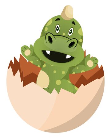 Green dragon is geting out of egg, illustration, vector on white background.