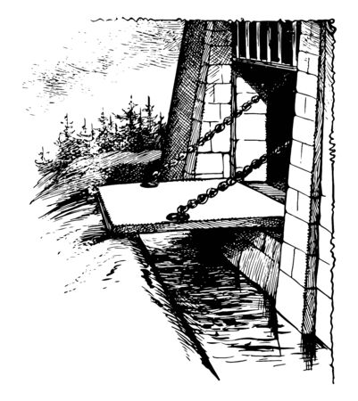 Draw Bridge is movable bridge typically associated with the entrance of a castle, it also referred as ditch or moat which is crossed by wooden bridge, vintage line drawing or engraving illustration.
