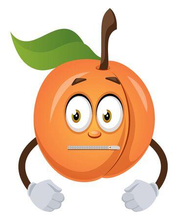 Silent apricot, illustration, vector on white background. Ilustração
