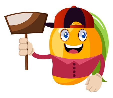 Mango with dust pan, illustration, vector on white background.