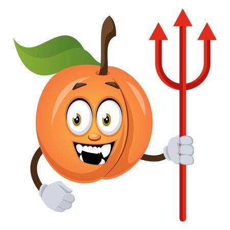Apricot with devil spear, illustration, vector on white background. Ilustração