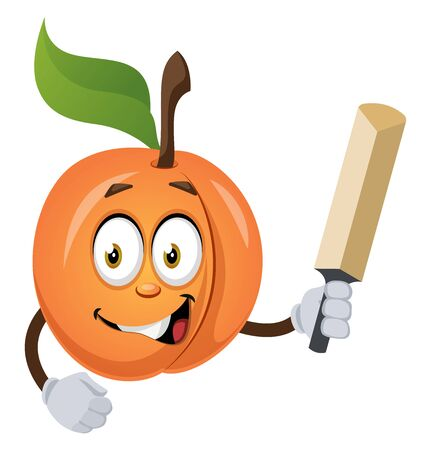 Apricot with bat, illustration, vector on white background.