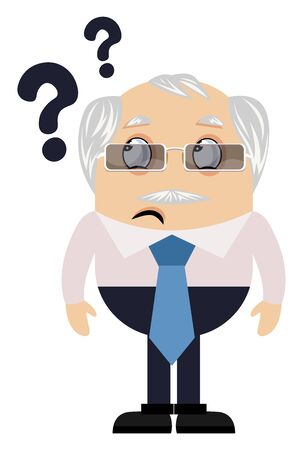 Old man with question marks, illustration, vector on white background.