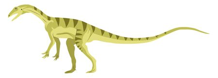 Green small dinosour, illustration, vector on white background.