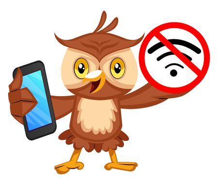 Owl with no wifi signal, illustration, vector on white background.