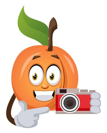 Apricot with camera, illustration, vector on white background.