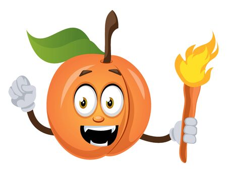 Apricot with torch, illustration, vector on white background. Illustration