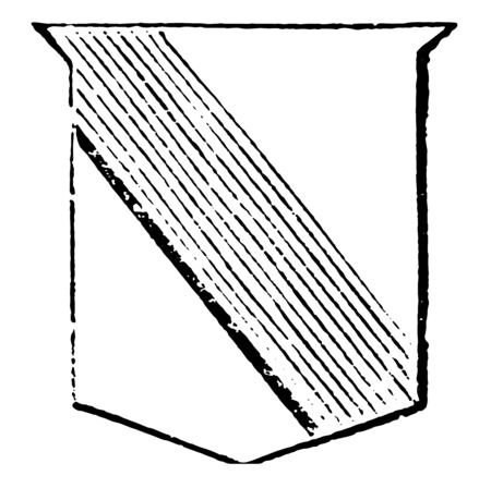 Ordinary Bend are contains the fifth part of the field if uncharged, vintage line drawing or engraving illustration.