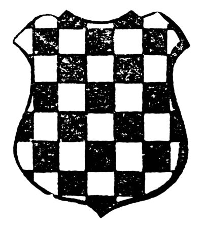 Checky are field covered with alternate squares of metal and fur, vintage line drawing or engraving illustration.