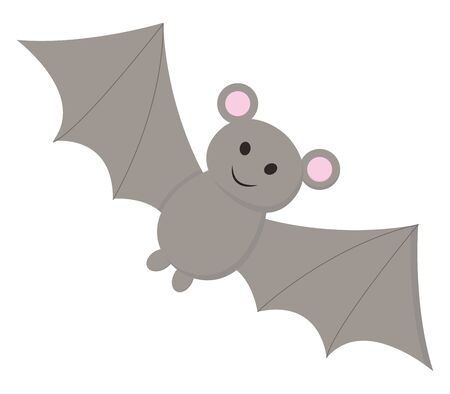 A black colored bat with two sharp teeth, vector, color drawing or illustration.