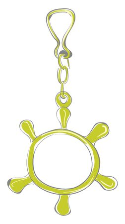 A green steering wheel for childrens for sailor; with short chain; a key chain for sailor, vector, color drawing or illustration.