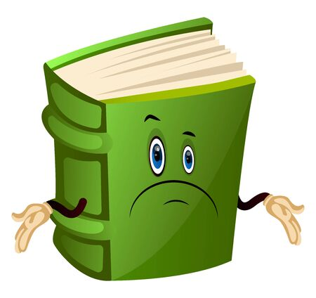 Cartoon book character is feeling confused, illustration, vector on white background. Illustration