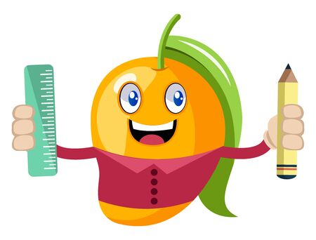 Mango with pen and ruler, illustration, vector on white background.