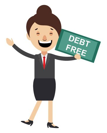 Woman with debt free sign, illustration, vector on white background.
