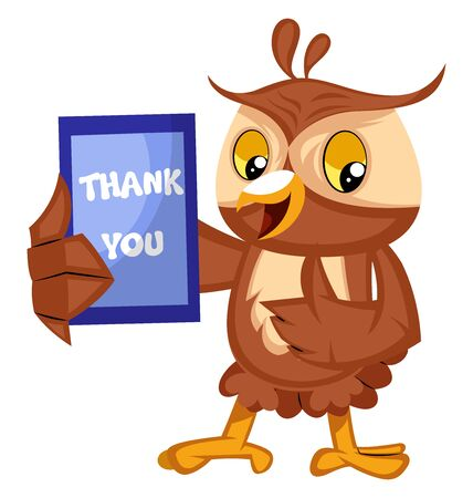 Owl with thank you sign, illustration, vector on white background.