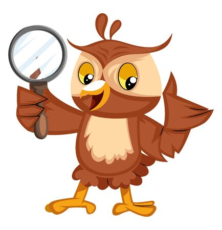 Owl with magnifying glass, illustration, vector on white background.