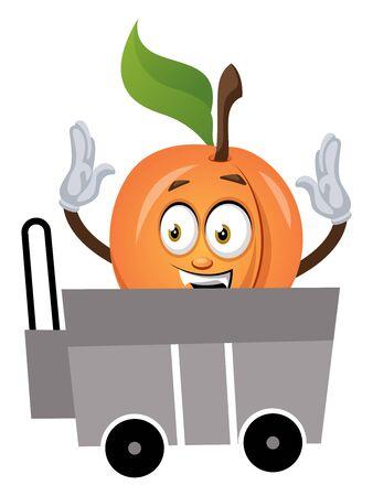 Apricot in a cart, illustration, vector on white background. Ilustração