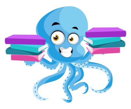 Octopus with books, illustration, vector on white background.