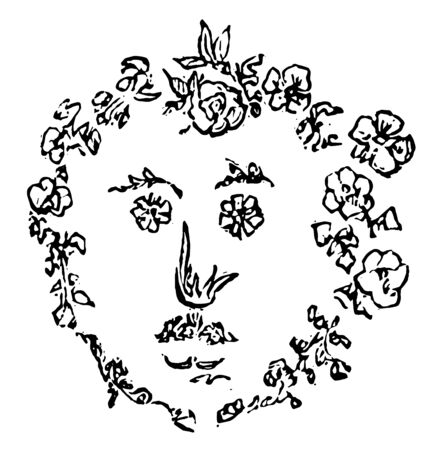 Flower Face in the shape of a face in this picture, vintage line drawing or engraving illustration.