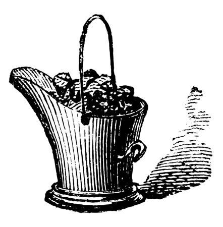 This illustration represents uses of Coal Bucket, vintage line drawing or engraving illustration.