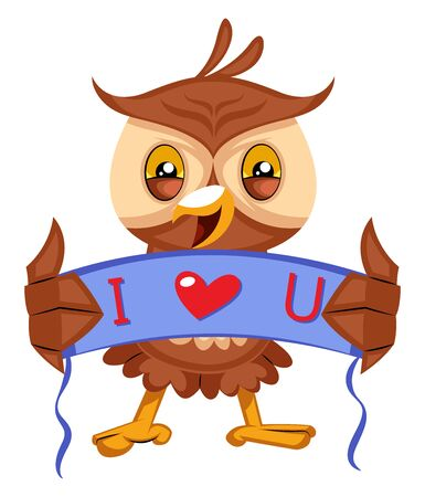 Owl with i love you sign, illustration, vector on white background.